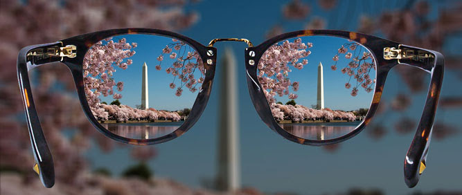 Glasses with the Washington Monument in sight through the lenses